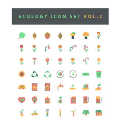 ecology icon set with colorful modern flat style vector image