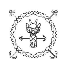 Emblem giraffe hipster hunter city icon vector