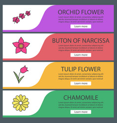 Flowers web banner templates set vector