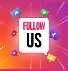 follow us poster vector image