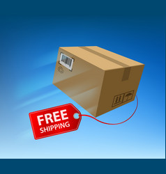 Free shipping freight cardboard box with cargo vector