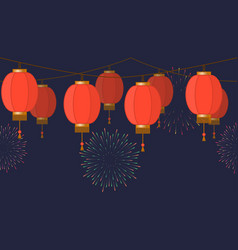 garland with chinese lantern chain red asian vector image