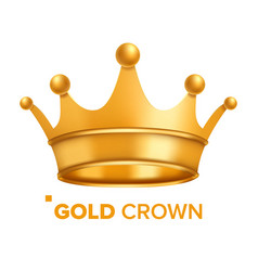 gold crown king design royal icon vector image