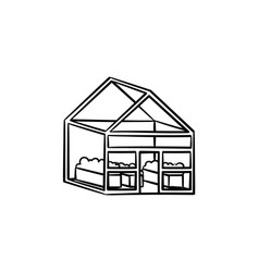 greenhouse hand drawn sketch icon vector image