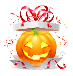 halloween pumpkin in gift box vector image vector image