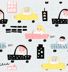hand drawn seamless pattern with cars vector image