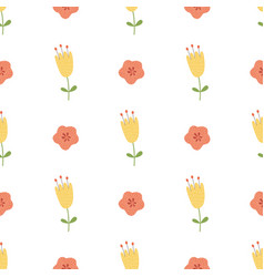 Hand drawn yellow flowers seamless pattern cute vector