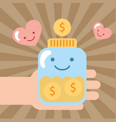 Hand holding jar kawaii coins money donate charity vector