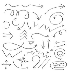 Handdrawn doodle arrows icon hand drawn black vector