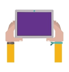 Hands holding a touch tablet with bracelet vector