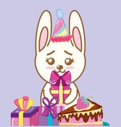 happy birthday rabbit cartoons vector image