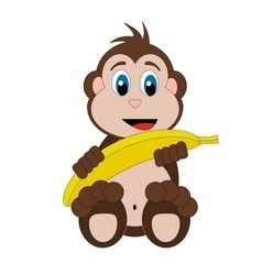 Happy monkey with banana vector