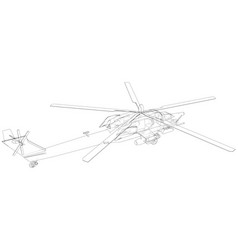 Helicopter in outline style created wireframe vector