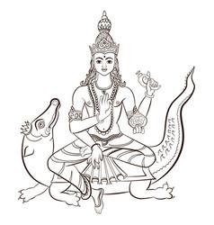 Hindu god varuna sitting on the crocodile vector