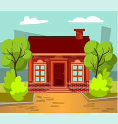 house with yard and skyscraper view in city vector image