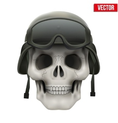 Human skull with Military helmet vector image