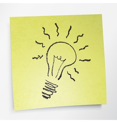 Idea symbol on sticky yellow paper vector