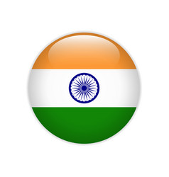 india flag on button vector image