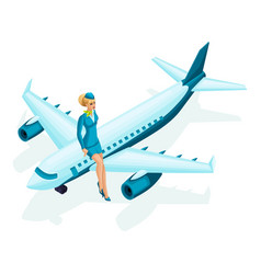 Isometric stewardess sits on the airplane beautif vector
