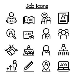 Job icons set in thin line style vector