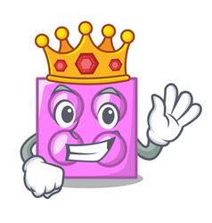 King toy brick mascot cartoon vector