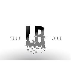 Lb l b pixel letter logo with digital shattered vector