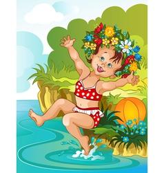 Little girl bain sunshine vacation theme vector