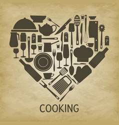 logo kitchen icon heart vector image