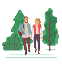 man and woman on date in park or forest walking vector image