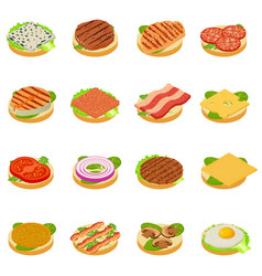 Nourishment icons set isometric style vector