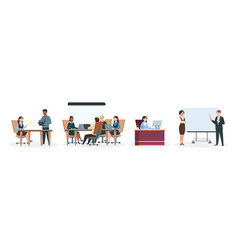 office workers business situations brainstorming vector image