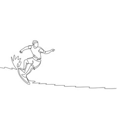 One single line drawing young sporty surfer vector