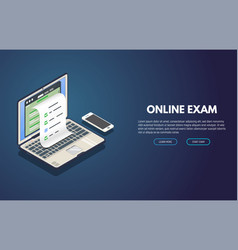 Online exam isometric banner vector
