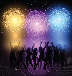Party crowd on fireworks background 0902 vector