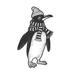 Penguin in scarf and hat sketch vector