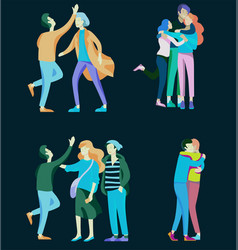 people character friends and couple vector image