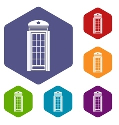Phone booth icons set vector image