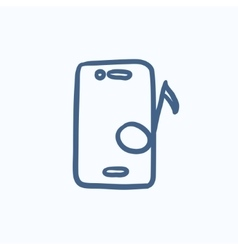 Phone with musical note sketch icon vector image