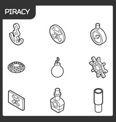 piracy outline isometric icons vector image