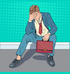 pop art stressed businessman sitting on the floor vector image