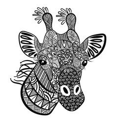 Portrait a giraffe with patterns vector