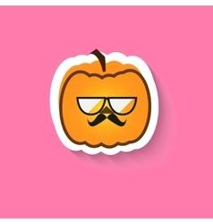 Pumpkin hipster big glasses vector image