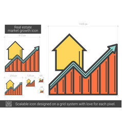Real estate market growth line icon vector
