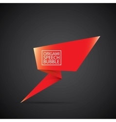 Red christmas origami speech bubble banner vector