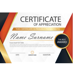 Red triangle elegance horizontal certificate vector