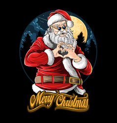 Santa claus at christmas love party vector