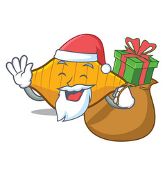 Santa with gift conchiglie pasta mascot cartoon vector