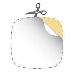 scissors cutting white sticker vector image