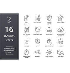 Security line icons set black vector