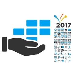 Service Schedule Icon With 2017 Year Bonus Symbols vector
